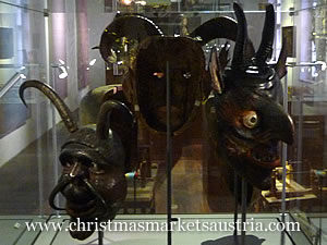 Some of the Krampus masks on display in Innsbruck